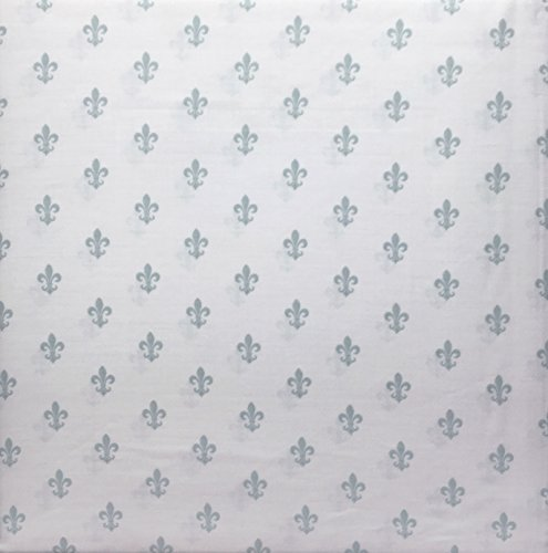 - Sheet Set, Twin Size Luxury 3 Piece, 100% Cotton, Classic Fleur de Lis French Lilies Pattern, Sea Green on White, Extra Deep Pockets, The Classic Home