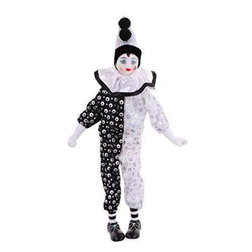 (Fityle 38cm Vintage Porcelain Doll Hanging Foot Clown Model Circus Props Home Decoration Desk Ornaments)