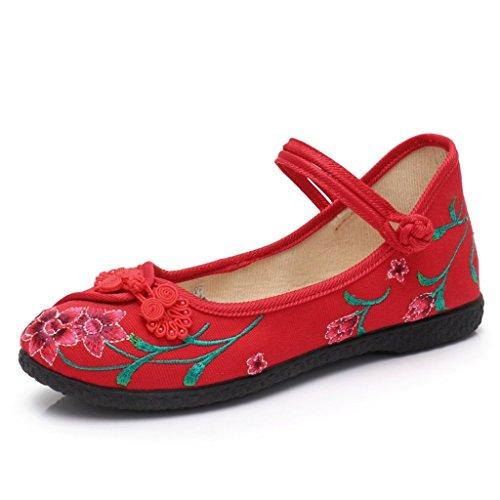 De Antideslizante Bottom Mujer Zapatos Color Rojo 35 Ocasionales Zapatos Bordados Nacional Madre o Zapatos Primavera Del Plano Estilo Verano Tama La Negro wzpO0ZPqnx