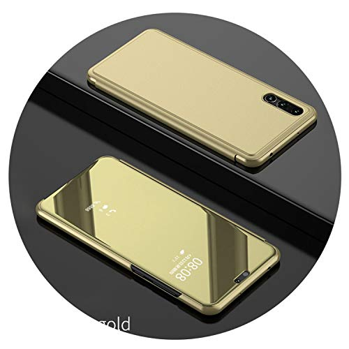 Clear View Smart Mirror Phone Case for Samsung Galaxy S9 S8 S7 S6 Edge Plus for Note 8 5 for A3 A5 A7 A8 2017 2018 2019 Case,Gold,for Samsung S9 Plus ()