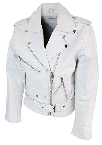 Couleur Biker Blouson Brando Perfecto Motard Style Femme Cuir g1Z1E