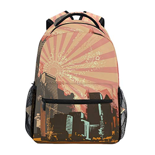 TARTINY Cityscape Grunge Background Vector Illustration Series Lightweight School backpack Students College Bag Travel Hiking Camping Bags