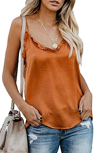 Womens Casual Tops V Neck Wrap Front Pleated Cami Tank Tops Casual Sleeveless Shirts Blouses Orange S