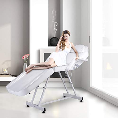 SSLine Professional 75″ White Massage Table Portable Folding Massage Tattoo Chair Bed Beauty Salon Ajustable Facial Spa Bed with Facial Hole
