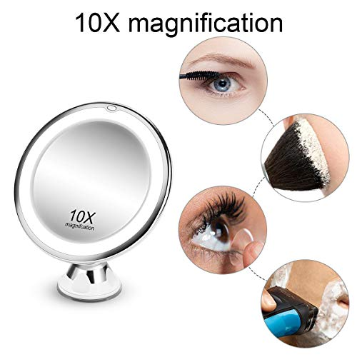 KOOLORBS 2020 New Version 10X Magnifying Makeup Mirror with Lights, 3 Color Lighting, Intelligent Switch, 360 Degree Rotation, Powerful Suction Cup, Portable, Good for Tabletop, Bathroom, Traveling 3