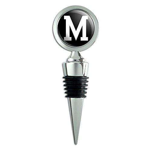 Letter M Initial Black White Wine Bottle Stopper ()