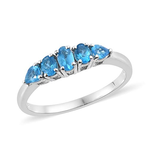 Ring 925 Sterling Silver Platinum Plated Oval Neon Apatite Gift Jewelry for Women Size 8 Cttw 0.7 ()
