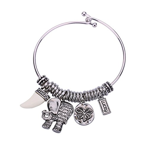 KissYan Adjustable Vintage Wire Bangle Bracelet For Women Inspirational Bracelets Series With Message Hope Love Lucky Charm For Women(Elephant Silver)