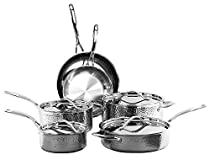 Oneida 10-Piece Tri-Ply Hammered Stainless Steel Cookware Set
