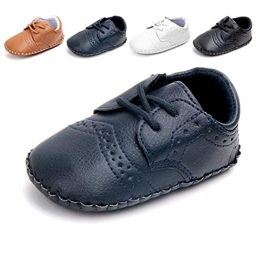- Cindear Newborn Baby Boys First Walking Shoes Soft Synthetic Leather Brogue Infant Dress Crib Shoes Dark Blue 6-12 Months