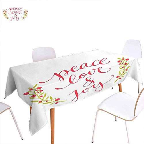 familytaste Quote Dinning Tabletop Decoration Peace Love and Joy Calligraphic Xmas Text with Winter Berries Wreath Table Cover for Kitchen 60