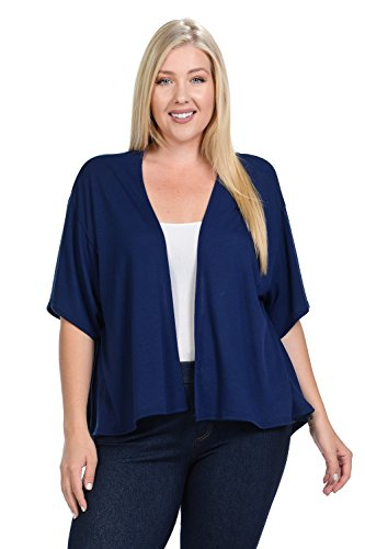 Pastel by Vivienne Womens Solid Color Open Front Cardigan