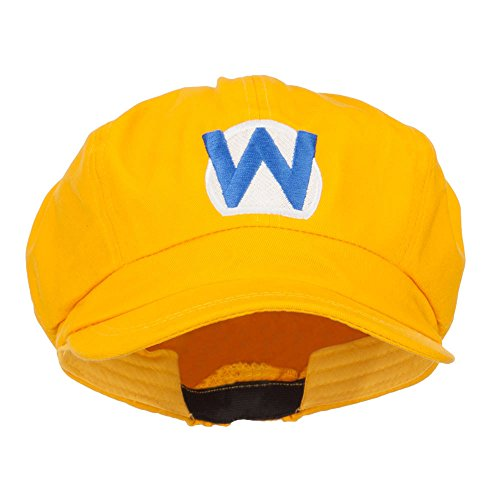 e4Hats.com Wario Waluigi Embroidered Cotton Newsboy Cap - Yellow OSFM -