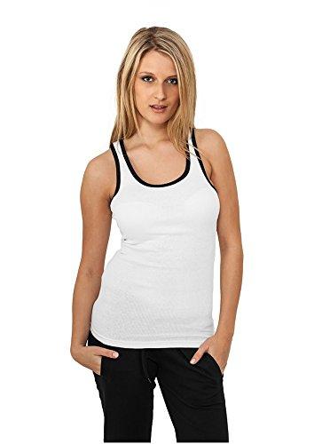 Urban Classics - Camiseta sin mangas - Sin mangas - para mujer Wht/Blk