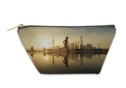 Gear New Accessory Zipper Pouch, People Running In Morning At Huangpu River Riverside With Shangh, Small, - Shops Stores Riverside At