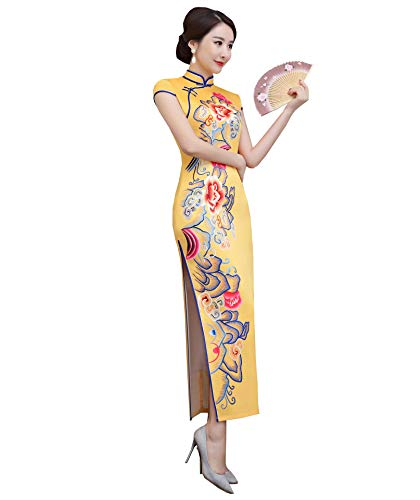 SOLOVEDRESS Women's East Asian Silk Cheongsam Chinese Evening Dress Qipao Embroidery for Girls (Yellow, US 4)