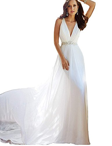 JoyVany Women's Deep V-Neck See Through Back Wedding Dress Bridal Gown with Train Size 17W White
