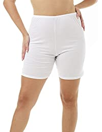 Womens 100% Cotton Cuff Leg Bloomers 8-Inch Inseam 3-Pack