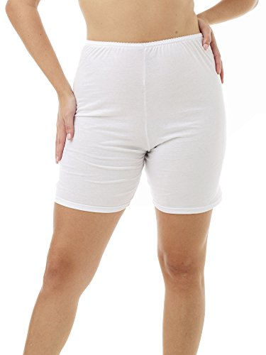 Underworks Womens 100% Cotton Cuff Leg Bloomers 8-inch Inseam White 3-Pack X-Large 41-42 Hips