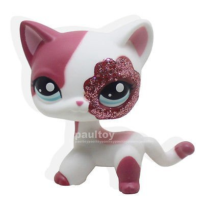 LHJ #2291 Rare Littlest Pet Shop Pink White Sparkle Glitter Short Hair Cat Kitty Toy (Sparkle Cat)