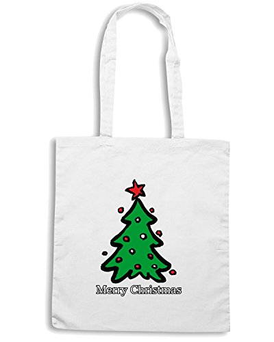 T-Shirtshock - Borsa Shopping T0388 albero di natale festivita Bianco