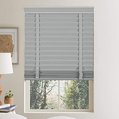 Keego 2″ Faux Wood Window Blinds Venetian Blinds Custom Cut to Size, Polyester Fabric Horizontal Blinds Light Filtering Cloth Blind with Decorative Cassette, Grey 27.75″ W x 64″ H