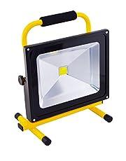 Faro da lavoro con batteria, bianco freddo, colore giallo, proiettore da cantiere, LED da 50W, proiettore portatile, batteria ricaricabile, IP6550W