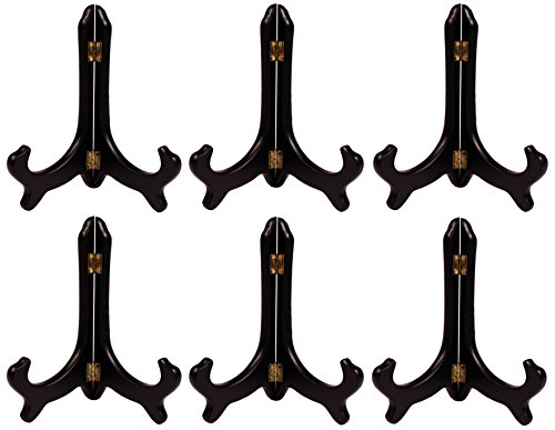(Creative Hobbies Deluxe Black Wood Display Stand Plate Holder Easels, 8 Inch Tall, Wholesale Box of 6 Stands)