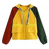Owill Women Long Sleeve Patchwork Pocket Skinsuits Hooded Zipper Pockets Sport Coat (Orange, XL)