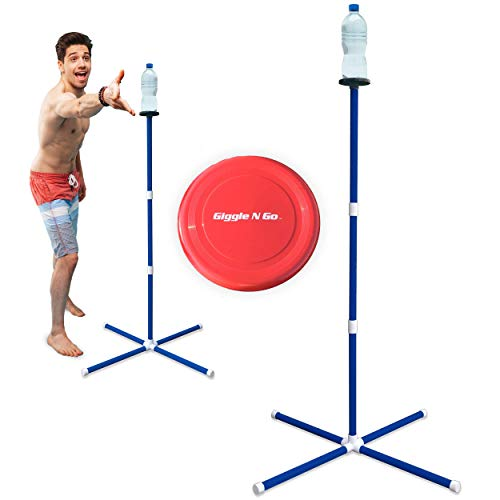 - GIGGLE N GO Knock Off Toss Outdoor Games - Yard Games for Kids and Family - Highly Addictive Flying Disc Game - Unlike Some, You Play Ours on All 3 Surfaces, Sand, Concrete or Lawn - Kids Lawn Game