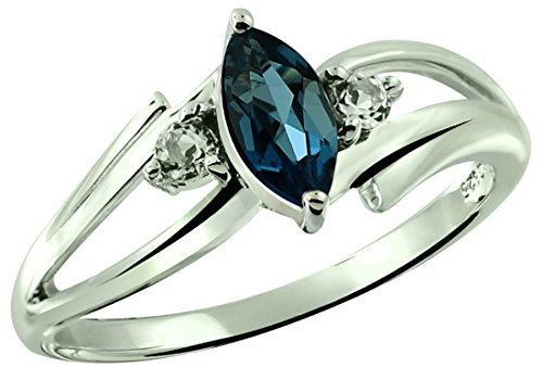 (RB Gems Sterling Silver 925 Ring Genuine GEMS (London Blue Topaz, Garnet) 0.75 Ct Rhodium-Plated Finish (10, London-Blue-Topaz))