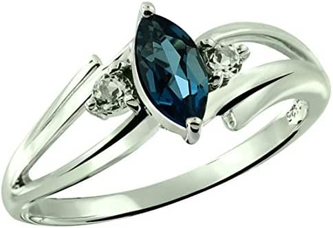 0.75 Carat London Blue Topaz with White Topaz Rhodium-Plated 925 Sterling Silver Ring