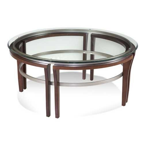 Mirror Cappuccino Finish Modern - Bassett Mirror Company Fusion Round Cocktail Table (Cappuccino & Silver Finish)