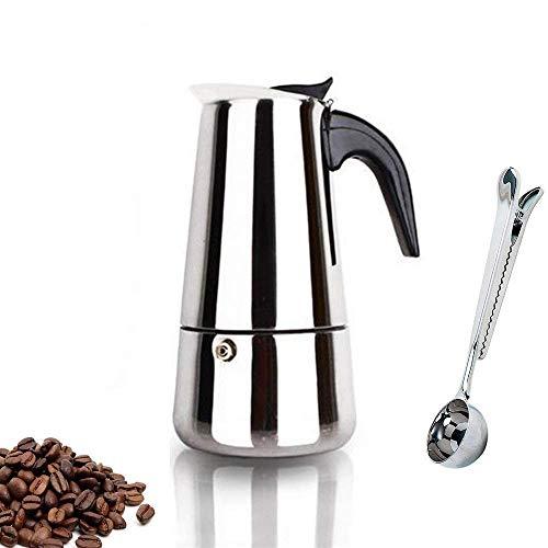 Heated Stainless Steel Espresso Maker - Espresso Maker Stovetop Moka Coffee Pot Stainless Steel Latte Percolator with Bonus Scoop (2 Cups/100 Milliliter)