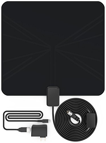EnergyPal AN51 Amplified Indoor HDTV Antenna 50 Mile Range With Power Supply and 10ft Coax Cable