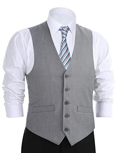 Chama Men's Formal Classic Fit Business Dress Suit Button Down Vest Waistcoat(60 Regular, Light Grey) by Chama (Image #7)