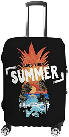 スーツケースカバー トラベルケース 荷物カバー 弾性素材 傷を防ぐ ほこりや汚れを防ぐ 個性 出張 男性と女性パイナップルの形でビーチの夕日