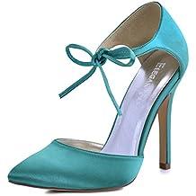ElegantPark Women's Pointed Toe High Heel Ankle Strap D'Orsay Satin Dress Pumps