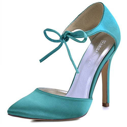 ElegantPark HC1610 Women's Pointed Toe High Heel Lace-up Bow D`Orsay Satin Dress Pumps Turquoise US 9 (Satin Bow Dress Heel Pump)