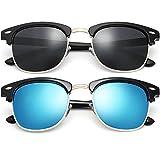 FEIUD SUNGLASSES FOR MEN WOMEN - Half Frame Polarized Classic fashion womens mens sunglasses FD4003 (brtghr bkack/blue, 2.04)