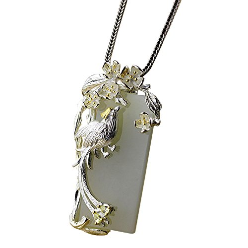 Jade Angel 925 Sterling Silver Sculptured Flower Bird Natural Jade Pendant Necklace