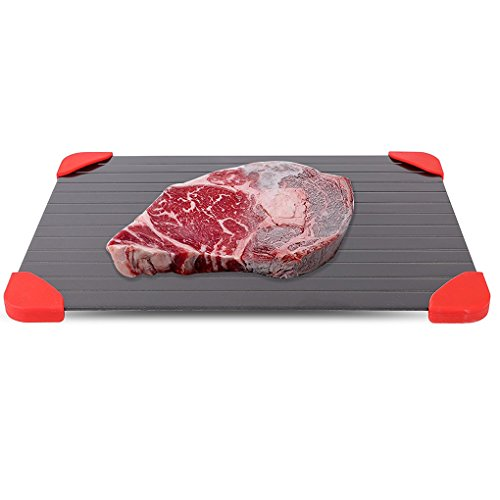 Price comparison product image Minzhi Aluminium Alloy Defrosting Tray Pad with Red Silicone Border Thaws Frozen Meat Food Faster Quicker Safest