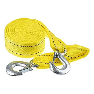 """Bluecell Heavy Duty Polyester Tow Strap Trailer Rope Double Thickened with Safety Hooks 5 Ton Capacity (2"""" x 13')"""