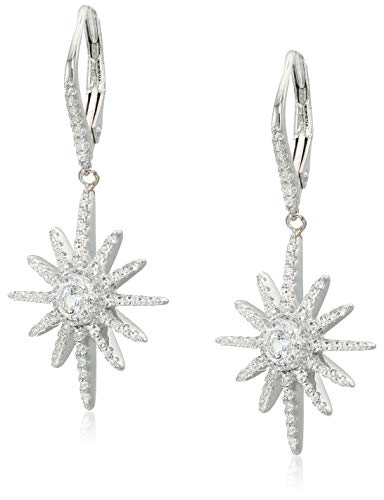 SERAFINA ❤ White Sapphire Starburst Earrings | Sterling Silver Hanging Starburst Lab Created White Sapphire Conflict-Free Earrings for Her