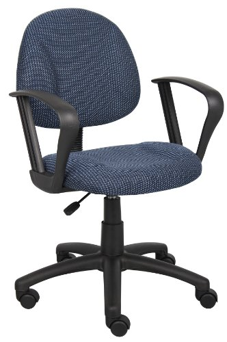 Desk Chair In Blue Fabric w Loop Arms, Casters & Adjustable