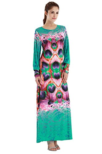 Summer Casual Muslim Dress with Jacquard Sleeve (Blue) - 3