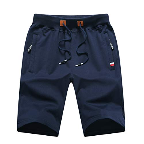 GUNLIRE Big Boy's Navy Casual Shorts Summer Cotton Drawstring Elastic Waist Pockets Shorts 2019