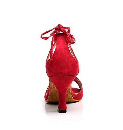 Suede Wedding Heel Shoes Latin Tango Red Leather US Sandals 10 Dance Minitoo Inch 3 M Ballroom TQJ5012 Women's Evening cwqIxAY6