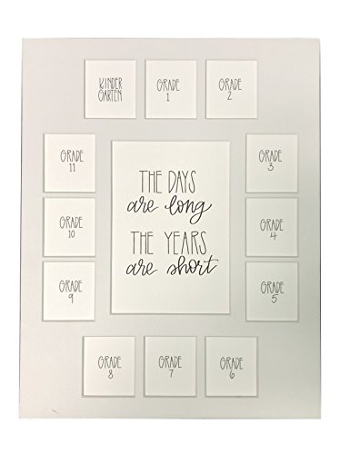 All Things For Mom School Picture Mat 11x14 The Days are Long, The Years are Short on a White Mat, K-12, 13 Openings, Mat Only -