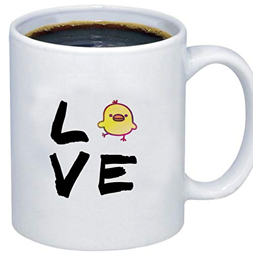 ZMvise Love Cute Chick Rooster Print Fashion Quotes White Ceramic Mug Cup Perfect Christmas Halloween Gfit